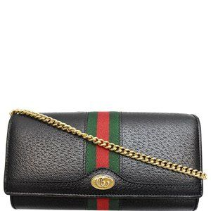 Gucci Chain Ophidia Gg Web Black Wallet